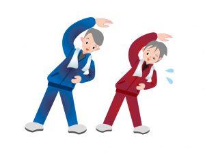 体操する老夫婦