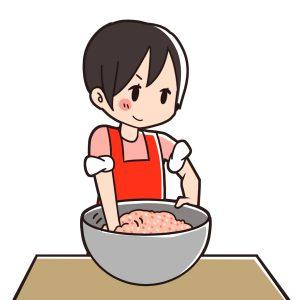 肉をこねる